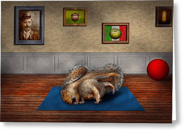 Fur Balls Greeting Cards - Animal - Squirrel - And stretch Two Three Four Greeting Card by Mike Savad