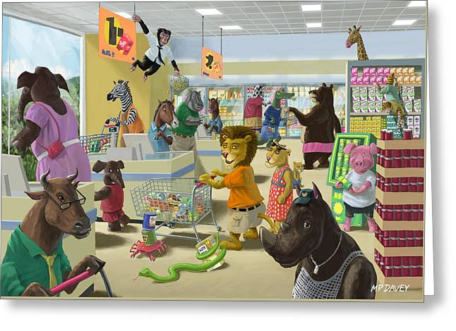 Animal Supermarket Greeting Card by Martin Davey