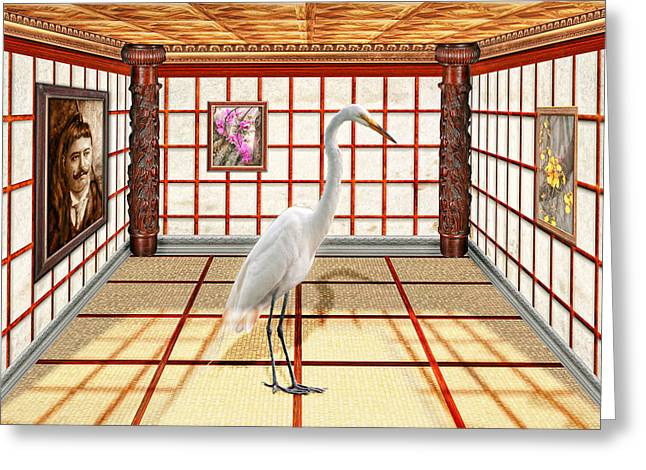 Animal - The Egret Greeting Card by Mike Savad