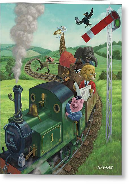 Best Sellers -  - Piglets Greeting Cards - Animal Train Journey Greeting Card by Martin Davey