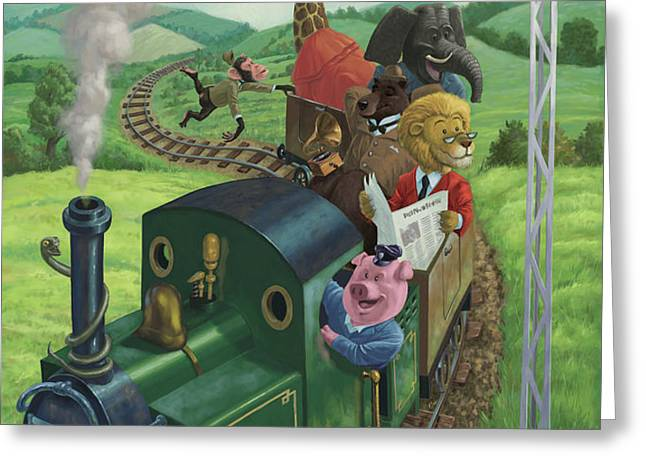 animal train journey Greeting Card by Martin Davey