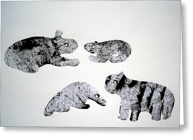 Scissors Drawings Greeting Cards - Animal World 120721-5 Greeting Card by Aquira Kusume