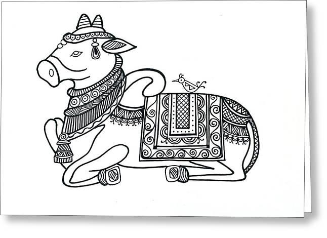 Animals Cow 2 Greeting Card by Neeti Goswami