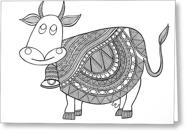 Animals Cow 3 Greeting Card by Neeti Goswami
