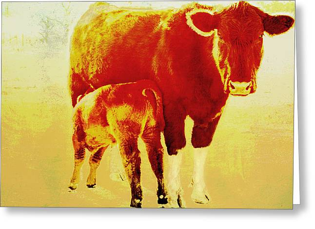 Green And Yellow Abstract Greeting Cards - Animals Cow and Calf Greeting Card by Ann Powell