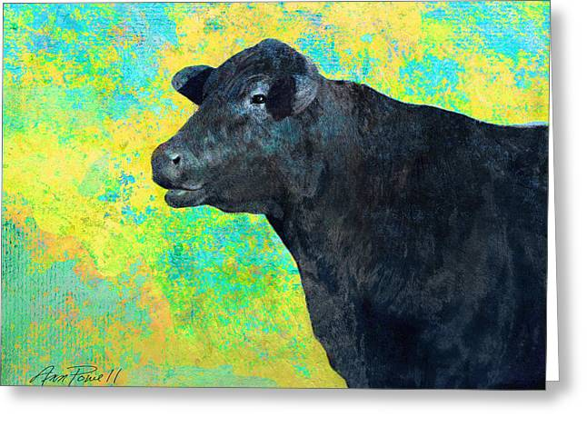 Colorful Photos Mixed Media Greeting Cards - Animals Cow Black Angus  Greeting Card by Ann Powell