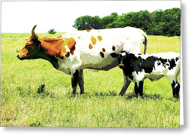 Manipulated Photography Greeting Cards - animals - cows- Cow and Calf  Greeting Card by Ann Powell