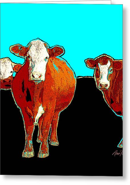 Bold Style Greeting Cards - animals - cows - Pop Art Cows on Turquoise Greeting Card by Ann Powell