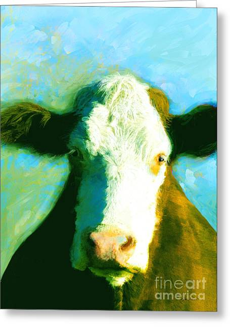 Animals Cows Sun And Shadow Painting By Ann Powell Greeting Card by Ann Powell