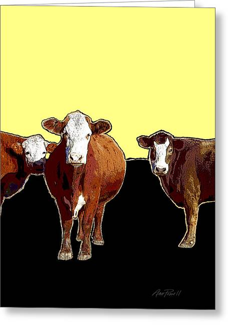 Manipulated Photography Greeting Cards - Animals Cows Three Pop Art with Yellow  Greeting Card by Ann Powell