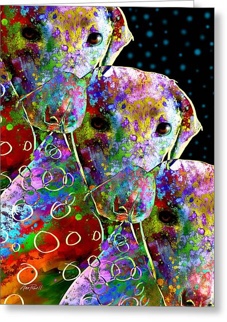 Dog Abstract Greeting Cards - animals - dogs- Colorful Dog Collage Greeting Card by Ann Powell
