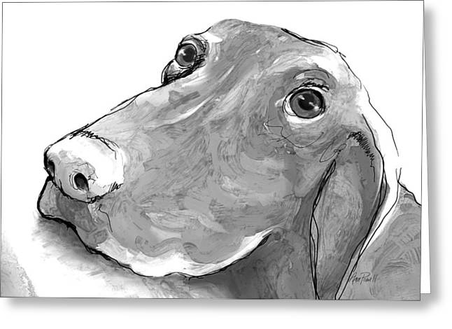 animals - dogs - Feed Me Please Greeting Card by Ann Powell