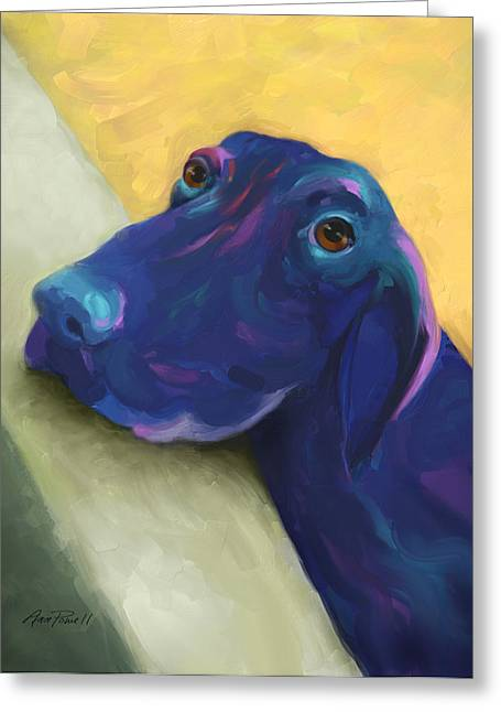 Impressionist Style Greeting Cards - Animals Dogs Labrador Retriever Begging Greeting Card by Ann Powell