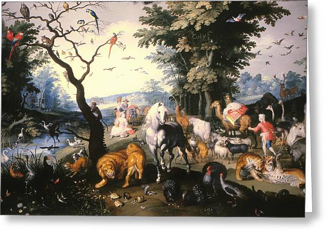 Religious Artwork Paintings Greeting Cards - Animals Entering Noahs Ark Greeting Card by Jan the Younger