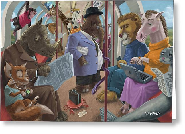 Best Sellers -  - Elephant Seals Greeting Cards - Animals On A Tube Train Subway Commute To Work Greeting Card by Martin Davey