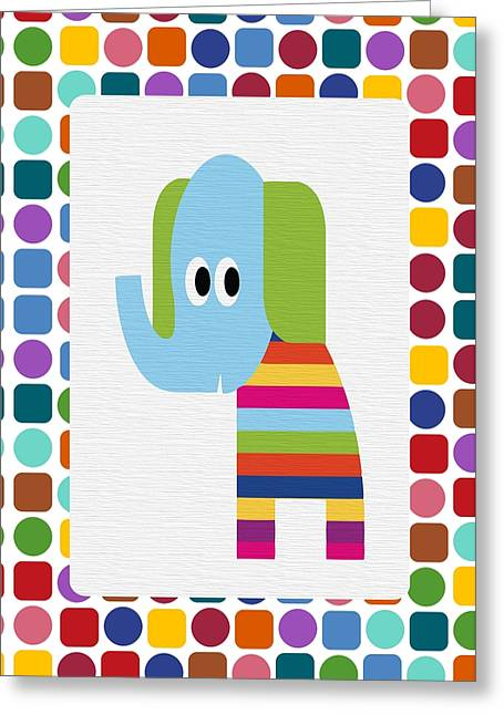 Happy Elephant Greeting Cards - Animals Whimsical 8 Greeting Card by Angelina Vick