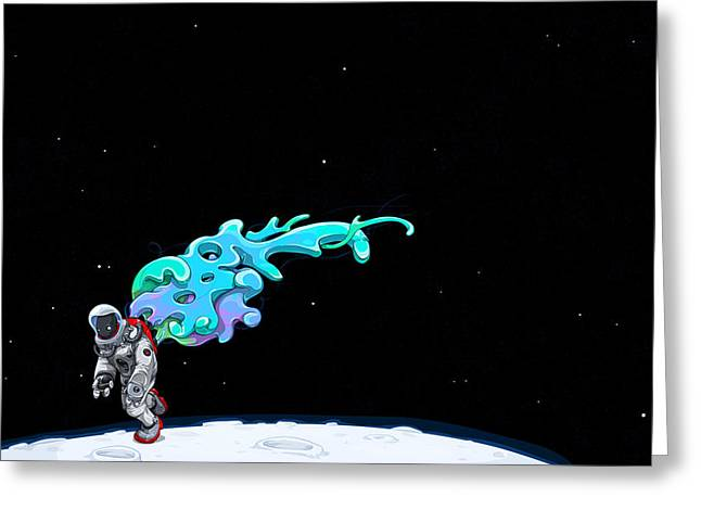 Space Man Greeting Cards - Animated Space Man Greeting Card by Gianfranco Weiss