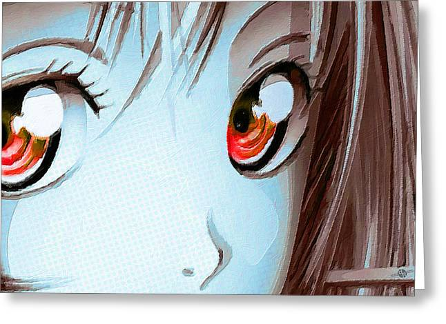 Empower Mixed Media Greeting Cards - Anime Girl Eyes 2 Blue Greeting Card by Tony Rubino