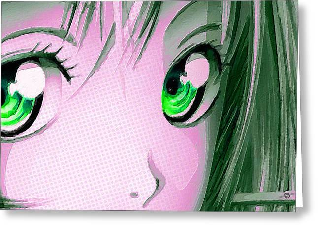 Empower Mixed Media Greeting Cards - Anime Girl Eyes 2 Pink Greeting Card by Tony Rubino