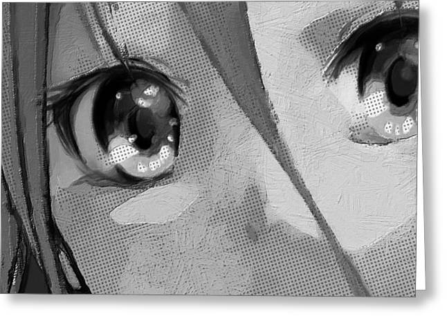 Empower Greeting Cards - Anime Girl Eyes Black And White Greeting Card by Tony Rubino