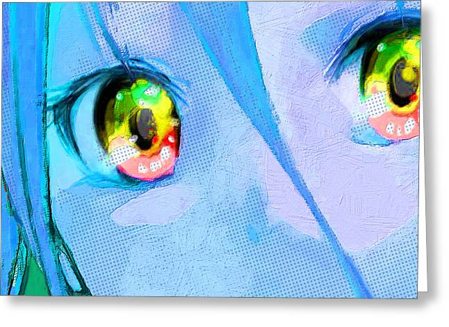 Empower Mixed Media Greeting Cards - Anime Girl Eyes Blue Greeting Card by Tony Rubino
