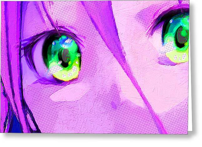 Empower Mixed Media Greeting Cards - Anime Girl Eyes Pink Greeting Card by Tony Rubino