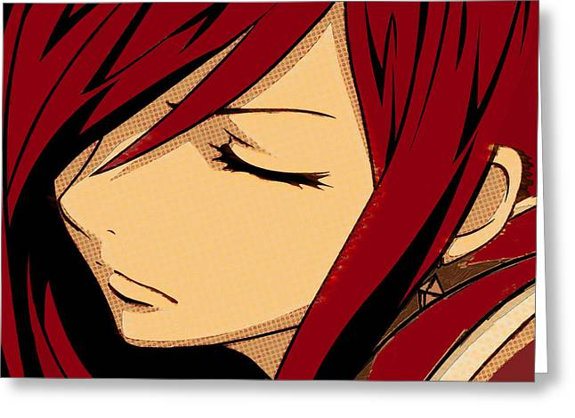 Empower Mixed Media Greeting Cards - Anime Girl Red Greeting Card by Tony Rubino
