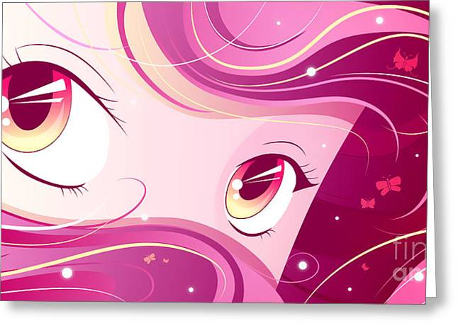 Illustration Greeting Cards - Anime Girl Greeting Card by Sandra Hoefer
