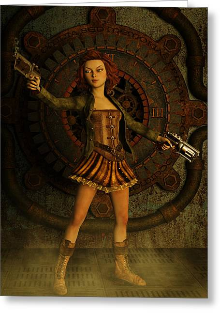 Feisty Greeting Cards - Anime Steampunk Girl Greeting Card by Liam Liberty