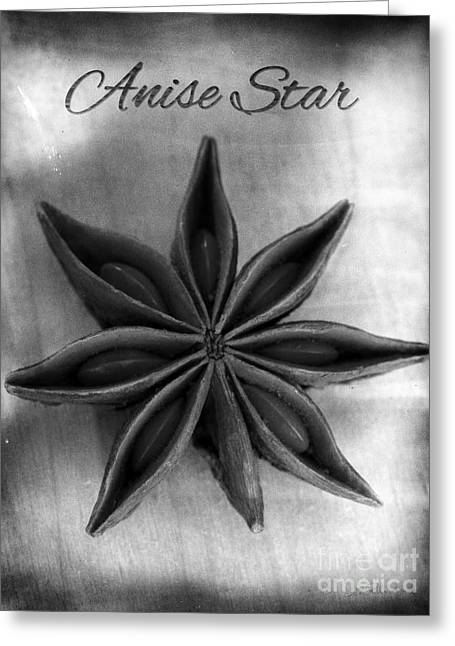Aniseed Greeting Cards - Anise Star Single Text Distressed Black and Wite Greeting Card by Iris Richardson