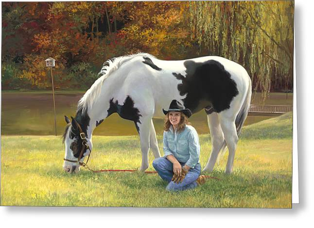 Broncos Paintings Greeting Cards - Anita and Horse Greeting Card by Laurie Hein
