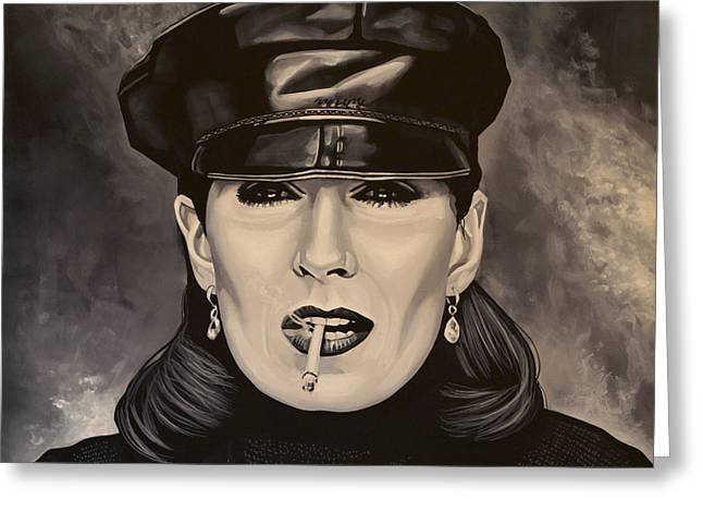 Family Love Greeting Cards - Anjelica Huston Greeting Card by Paul  Meijering