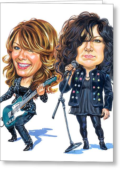 Caricatures Greeting Cards - Ann and Nancy Wilson of Heart Greeting Card by Art