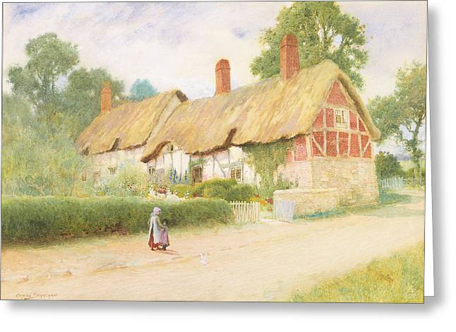 Apron Greeting Cards - Ann Hathaways Cottage Greeting Card by Arthur Claude Strachan