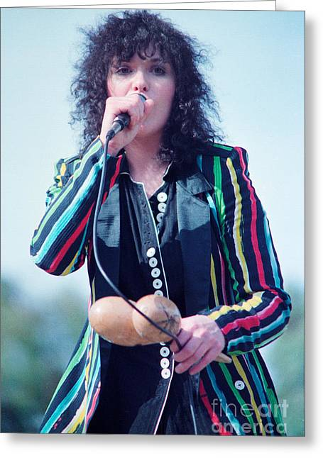 Green Day Greeting Cards - Ann Wilson of Heart at 1981 Day on the Green in Oakland Ca Greeting Card by Daniel Larsen