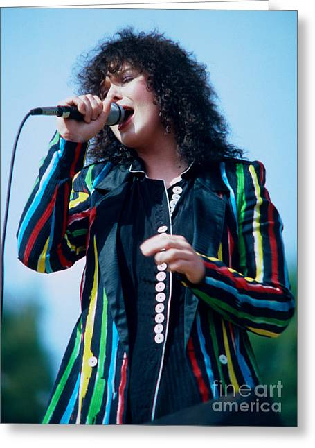 Green Day Greeting Cards - Ann Wilson of Heart at Day on the Green in Oakland Ca Greeting Card by Daniel Larsen
