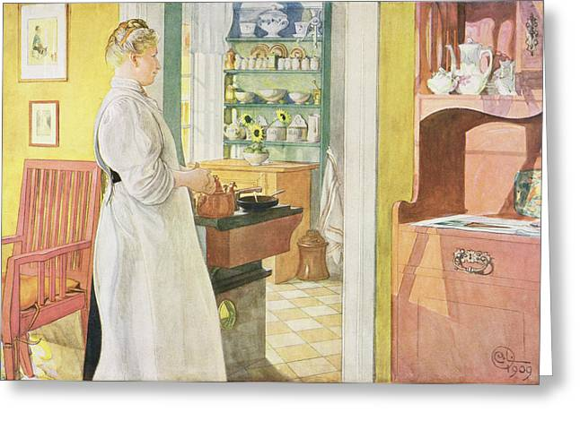 Cook Paintings Greeting Cards - Anna Arnbom , Pub. In Lasst Licht Hinin Greeting Card by Carl Larsson