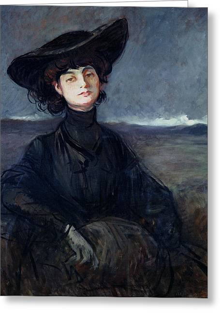 Countess Greeting Cards - Anna De Noailles 1876-1933 Oil On Canvas Greeting Card by Jean Louis Forain