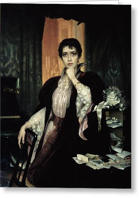 Pensive Greeting Cards - Anna Karenina, 1904 Oil On Canvas Greeting Card by Heinrich Matvejevich Maniser