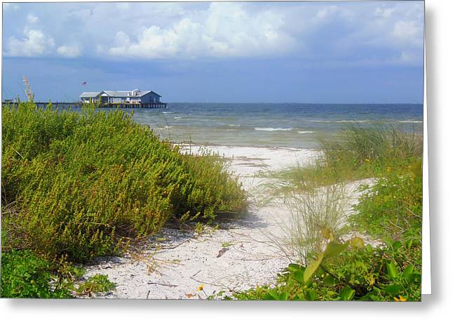 Sand Dunes Paintings Greeting Cards - Anna Maria Island Path Greeting Card by Lou Ann Bagnall