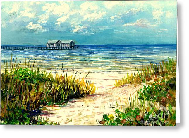 Sand Dunes Paintings Greeting Cards - Anna Maria Island Pier Greeting Card by Lou Ann Bagnall