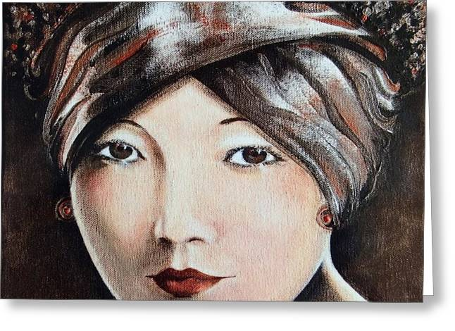 Self-portrait Greeting Cards - Anna May Wong  Greeting Card by Barbara Chase