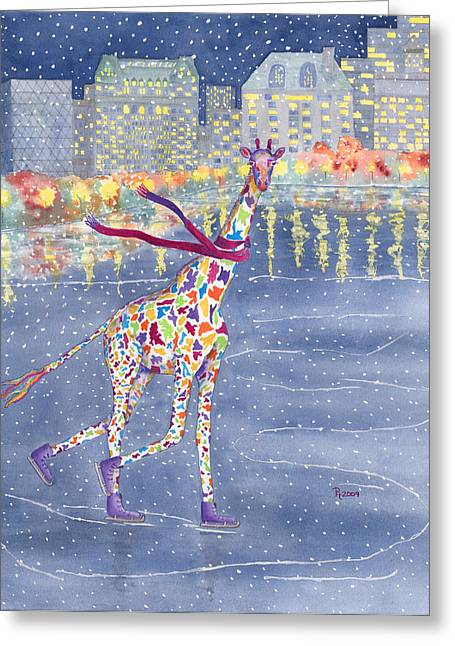 Giraffe Greeting Cards - Annabelle on Ice Greeting Card by Rhonda Leonard