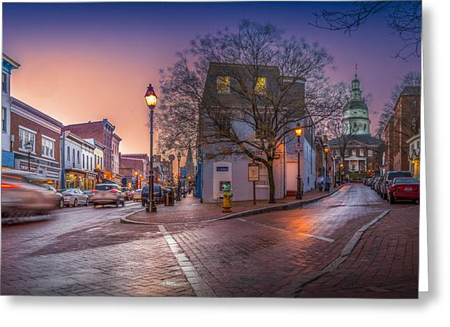 Glow Pyrography Greeting Cards - Annapolis Capitol Greeting Card by Paul Gretes