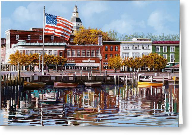 Stripes Greeting Cards - Annapolis Greeting Card by Guido Borelli