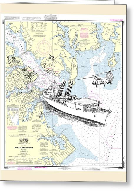 Annapolis Harbor Transport Ship Chopper Greeting Card by Jack Pumphrey