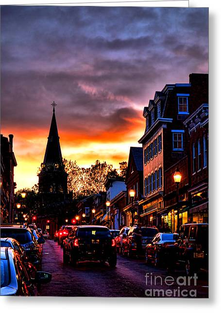 Annapolis Night Greeting Card by Olivier Le Queinec