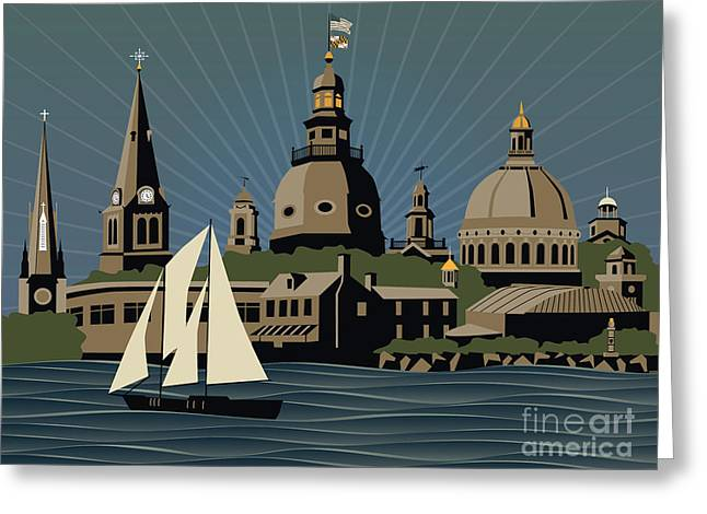 Middleton Greeting Cards - Annapolis Steeples and Cupolas Serenity Greeting Card by Joe Barsin