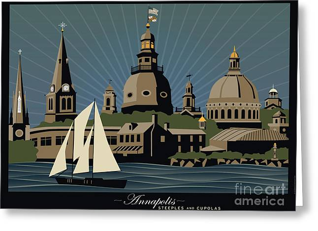 Cupola Digital Art Greeting Cards - Annapolis Steeples and Cupolas Serenity with border Greeting Card by Joe Barsin