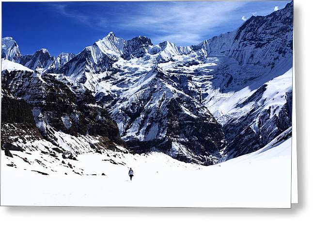 Snow Capped Greeting Cards - Hiker In Mountain Landscape Greeting Card by Aidan Moran